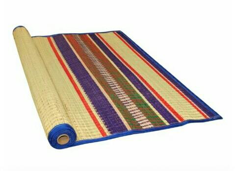 Karur Korai Grass Mat, 4x6 Feet, Blue